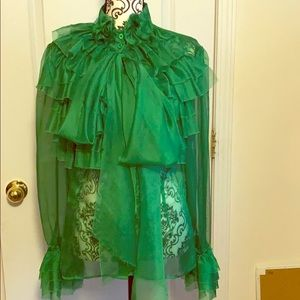 NWOT Green Sheer long sleeves formal blouse sz L.